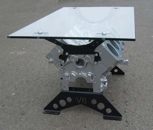V8 Engine Glass Table