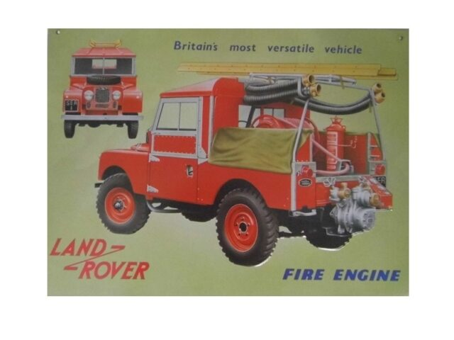 """collectable sign """" S1 Britain's most versatile vehicle - Fire engine"""""""